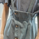 韓版寬鬆高腰a字牛仔背帶裙半身裙短裙 ☸mousika