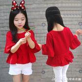 夏季女童純棉短袖T恤喇叭中袖娃娃衫韓版兒童寶寶上衣親子裝艾美時尚衣櫥