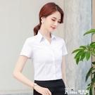 白色襯衫女商務工作服V領短袖2021春夏職業女裝襯衣韓版寬鬆 百搭