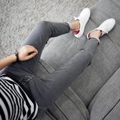 牛仔褲 黑色9分牛仔褲男士韓版修身青少年九分小腳褲潮流男裝男褲子