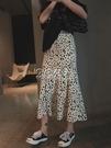 魚尾裙 赫本風豹紋波點魚尾裙半身裙夏季新款中長款女顯瘦遮胯高腰
