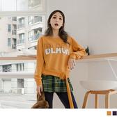 《AB8384》高含棉腰帶造型英字拼接格紋上衣 OrangeBear