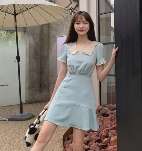 小洋裝 收腰顯瘦 香檳玫瑰復古優雅蕾絲翻領裙子氣質短款連身裙女6598BMA143紅粉佳人