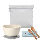 竹纖維 兒童 學習餐具 旅行組 Miniware 天然寶貝-大象灰+牛奶麥片+孟宗竹