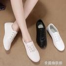 平底皮鞋 真皮小白鞋女夏季小皮鞋休閑平底孕婦媽媽鞋防滑護士鞋女單鞋 新年禮物