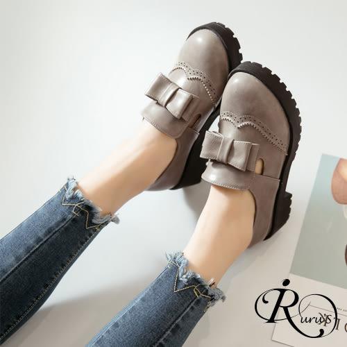 韓系英倫學院風雙層蝴蝶結造型圓頭樂福包鞋/3色/35-43碼 (RX0469-12206) iRurus 路絲時尚