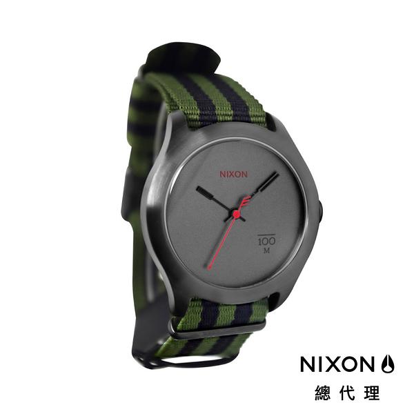 【官方旗艦店】NIXON QUAD 帆布錶帶 軍綠黑條紋 潮人裝備 潮人態度 禮物首選