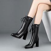 黑色馬丁靴女2019新款冬季女鞋高跟中筒靴子靴女短筒粗跟短靴  喵小姐