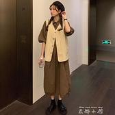 2021年秋季新款復古森女系純色襯衫領下擺抽繩洋裝 馬甲女套裝 米娜小鋪
