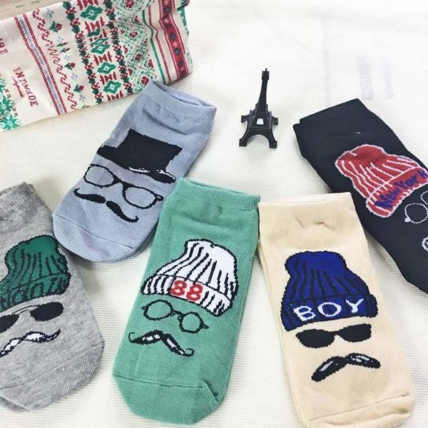襪子   帥氣眼鏡鬍子女短襪 隱形襪 短襪 螢光色 純棉 毛巾襪 船型襪 男女襪  【FSW060】-收納女王