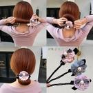 盤髪器 韓國頭飾丸子頭花朵盤髮器百變懶人蓬松花苞頭造型器髮帶扎頭髮飾