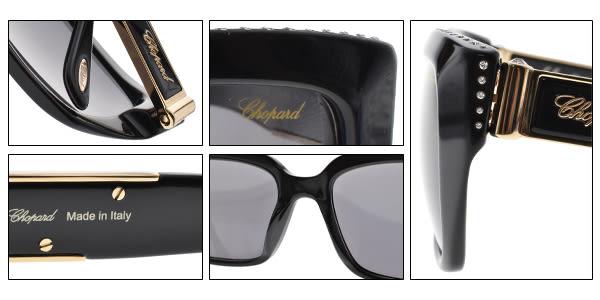 CHOPARD 太陽眼鏡 CP190S 700F (黑) 金屬時尚小鑽貓眼款 # 金橘眼鏡