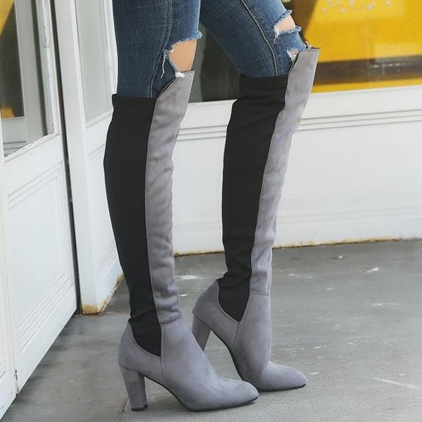 膝上靴 2020跨境大碼春秋冬歐美彈力布長靴女過膝拼色高跟粗跟靴子