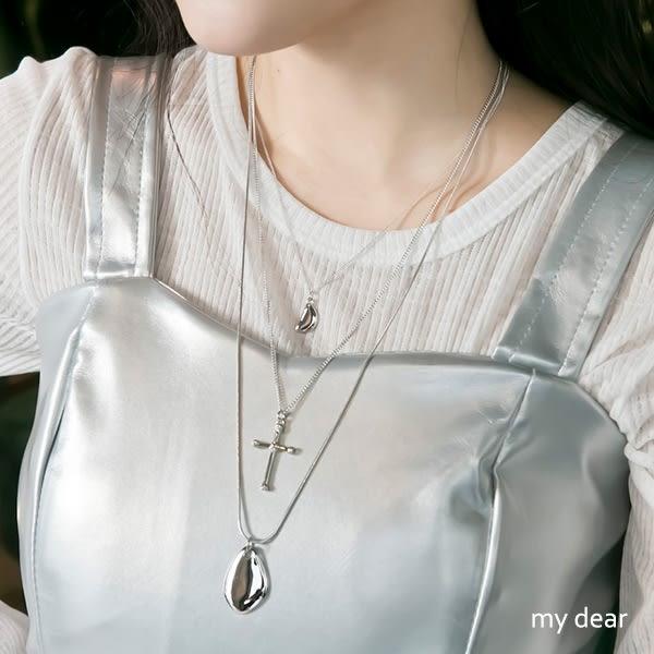 MD韓製-塊狀十字架項鍊組合-2色【08030329】