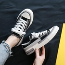 低幫拼色帆布鞋女新款甜美可愛學生百搭夏季ins街拍潮板鞋 雙12全館免運
