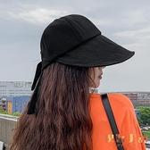 遮陽帽女空頂帽夏季防曬太陽帽韓版遮臉大檐鴨舌帽【倪醬小鋪】