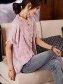 短袖上衣女士襯衫年輕媽媽衫夏季寬松顯瘦繡花百搭蕾絲V領小衫女NB11G依佳衣