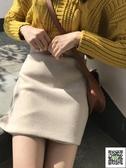 窄裙 秋冬ins超火半身裙女韓版新款復古素色高腰顯瘦毛呢a字包臀裙 雙12狂歡