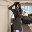針織辣妹洋裝女裝春季秋2021新款收腰顯瘦短裙氣質修身包臀裙子