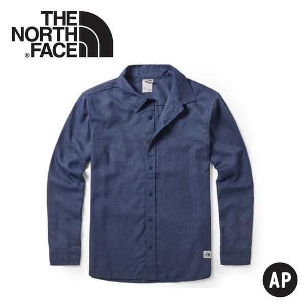 【The North Face 男 法蘭絨長袖襯衫《藍》】46GE/長袖襯衫/長袖上衣