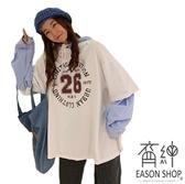 EASON SHOP(GW3794)實拍假兩件條紋襯衫拼接字母印花長版OVERSIZE長袖連帽T恤裙女上衣服內搭衫棉T