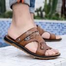 涼鞋男牛筋底防滑耐磨男士拖鞋沙灘鞋夏季爸爸兩用休閒軟底皮涼鞋