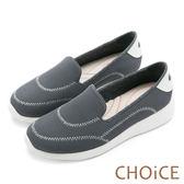 限時特賣-CHOiCE 舒適渡假 透氣網布縫線厚底休閒平底鞋-灰色