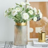 銅口美式輕奢金屬北歐透明玻璃花瓶擺件干花裝飾【毒家貨源】