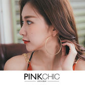 耳環 金屬大圓圈耳環耳飾銀飾配飾 PINK CHIC 35306