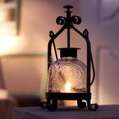 燭臺柔軟時光歐式復古鐵藝玻璃婚慶浪漫燭光晚餐手提馬燈禮物擺件 俏女孩
