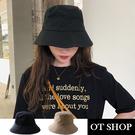 OT SHOP [現貨] 帽子 漁夫帽 遮陽帽 盆帽 中性男女 簡約素色 帽圍可調 文青穿搭配件 黑/卡其 C2146
