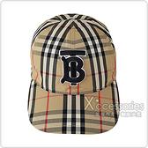 BURBERRY刺繡TB LOGO復古格紋設計棉質扣式棒球帽(典藏米)