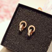 簡約羅馬數字雙環圈圈鈦鋼玫瑰金耳釘耳環