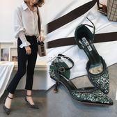 韓版淺口尖頭亮片氣質中空細跟高跟單鞋宴會女鞋子女涼鞋 俏腳丫