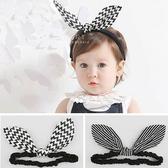 韓國黑白主義兔耳蝴蝶結髮帶 女孩髮飾 造型髮帶