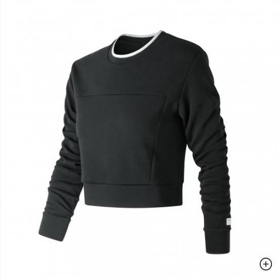 NEW BALANCE 黑 白邊 短版 針織 拼接 大學T 棉 女(布魯克林) WT91556BK