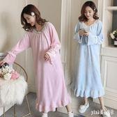 大碼孕婦冬裝 上衣保暖加厚睡衣連衣裙產前產后家居服孕婦裙月子服 js19584『Pink領袖衣社』