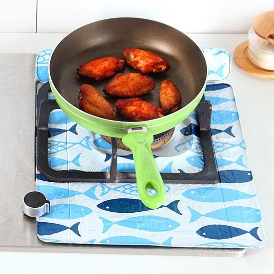 印花加厚鋁箔防油墊 瓦斯爐 烹飪 煎魚 隔熱 防濺 油汙 汙垢 廚房 油煙【H025】慢思行
