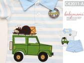 貝比幸福小舖【42011-A】美國卡特Carter s瞌睡熊車車粉藍套裝~