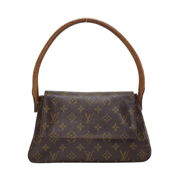 LV LOUIS VUITTON 路易威登 原花翻蓋手提肩背包 Mini Looping 【二手名牌 BRAND OFF】