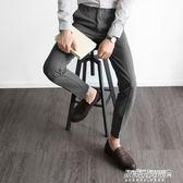 西裝褲 西褲男休閒薄款長褲修身小腳男士黑色西裝褲免燙復古休閒褲子   傑克型男館