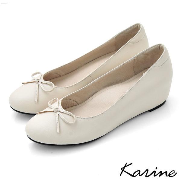 全真皮內增高楔型娃娃鞋-優雅白‧MIT台灣製‧karine
