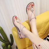 羅馬涼鞋夏季新款涼鞋女夏波西米亞沙灘鞋夾腳平底平跟羅馬百搭學生潮快速出貨下殺75折