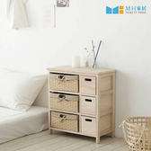 【MH家居】實木收納櫃 原木櫃 韓國 佛瑞斯森林六格抽屜櫃 原木色
