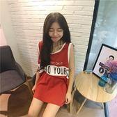 韓版原宿BF學生寬鬆無袖T恤女打底背心連身裙