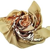 【奢華時尚】Ferragamo 長頸鹿斑馬與豹印花圖案米色絲質大方巾披肩(九成新)#25120