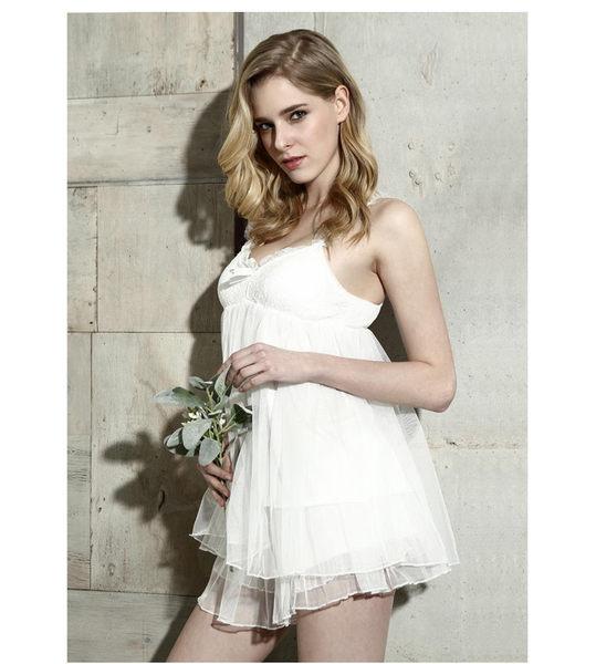 雙層蕾絲公主帶胸墊女性感吊帶短褲睡衣套裝-11190019