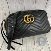 BRAND楓月 GUCCI GG 古馳 447632 黑色 MARMONT 山形紋 仿舊LOGO 相機包 斜背包 側背包
