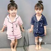 兒童睡衣女童棉質薄款2018新款1-3歲小童寶寶夏季短袖家居服套裝免運【下標選換運送可超取】