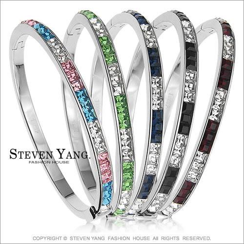 手環STEVEN YANG正白K飾「超閃亮水晶鑽造型」銀色款*單個價格*